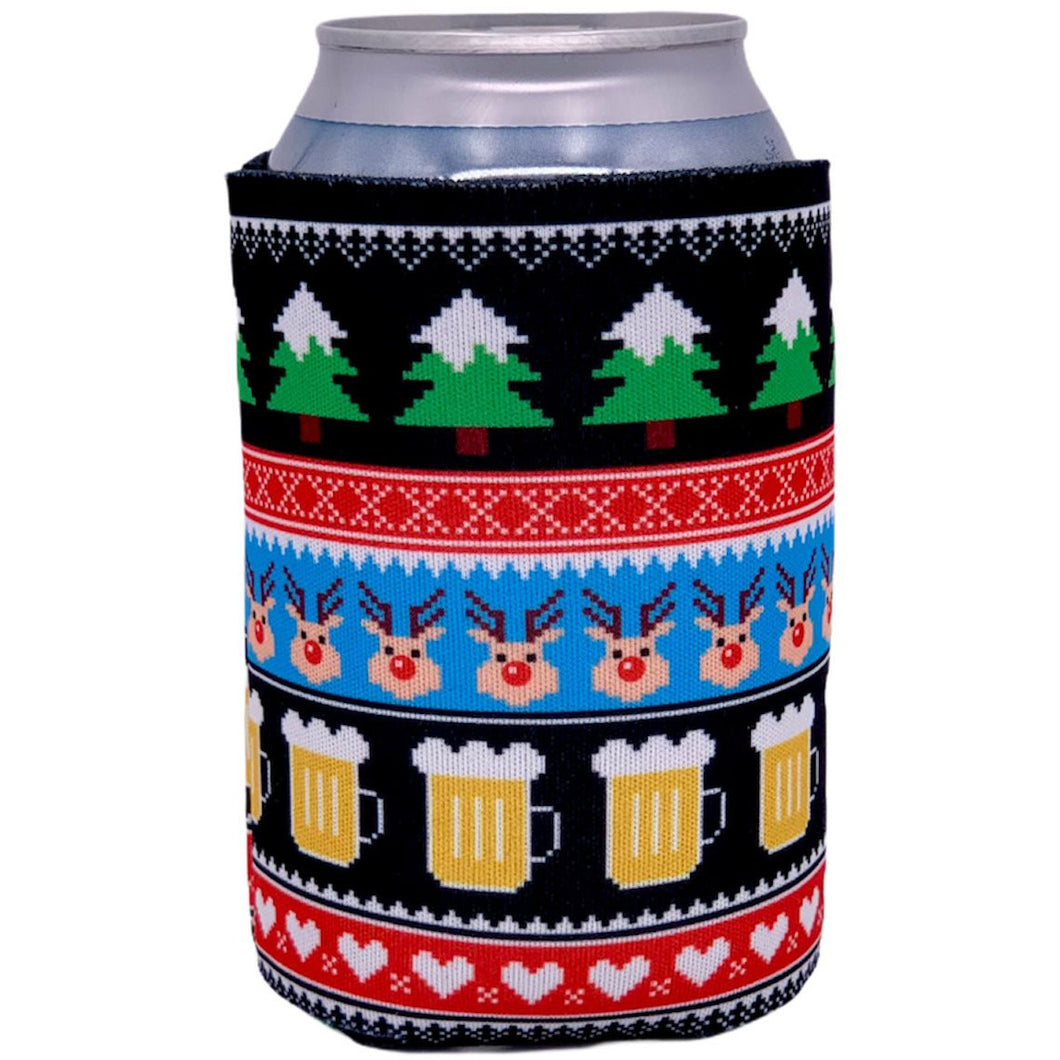 can koozie with chrismtas reindeer and beer mug pattern
