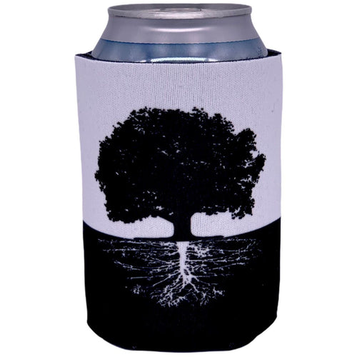 can koozie with tree and roots black and white graphic design