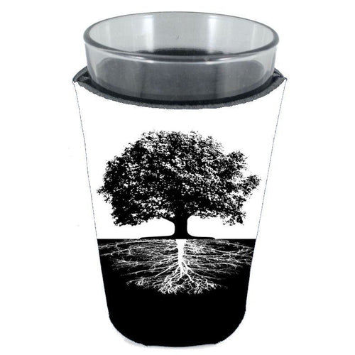 pint glass koozie with tree of life roots design