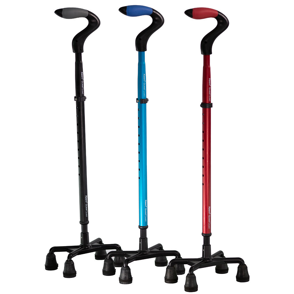 Keen Quad Point Quest Shock-Absorbing Cane Color Options: black, blue and red.