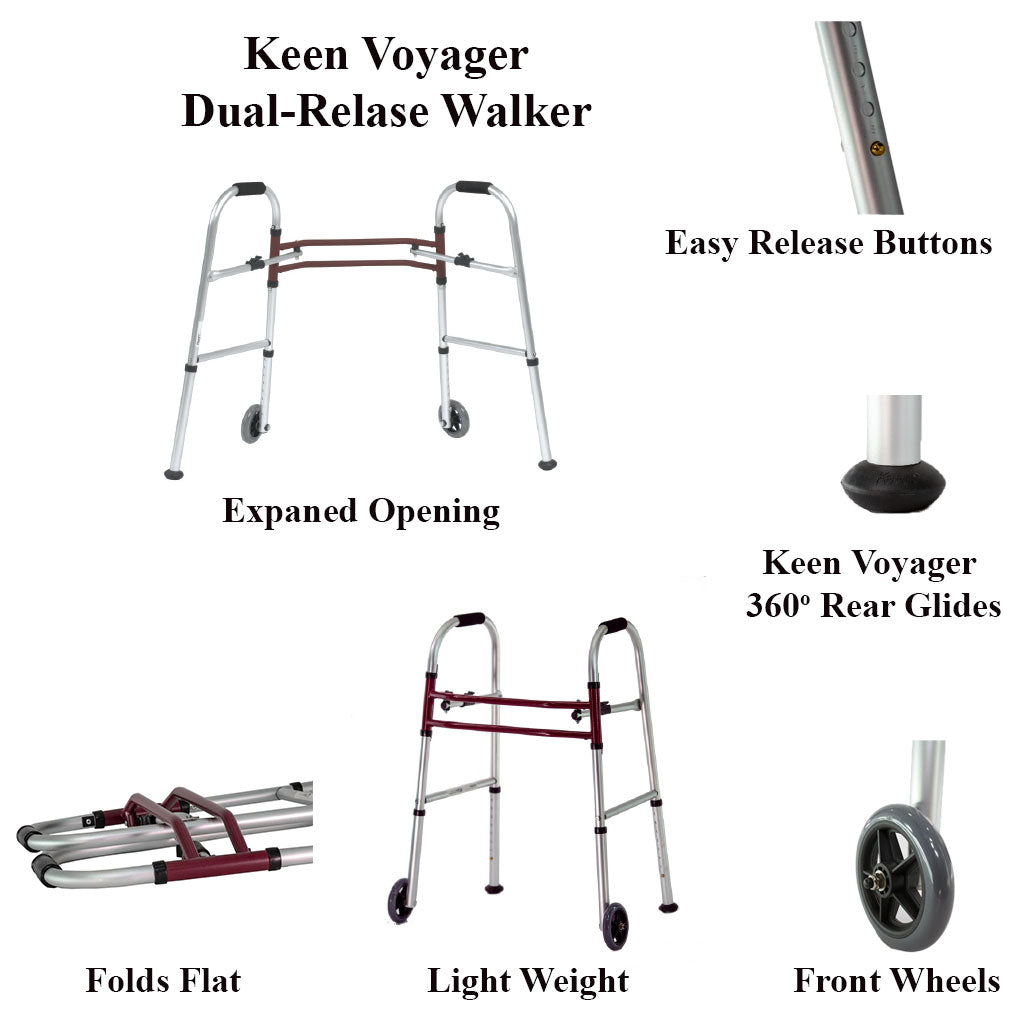 The features of the Keen Voyager Dual-Relase Walker