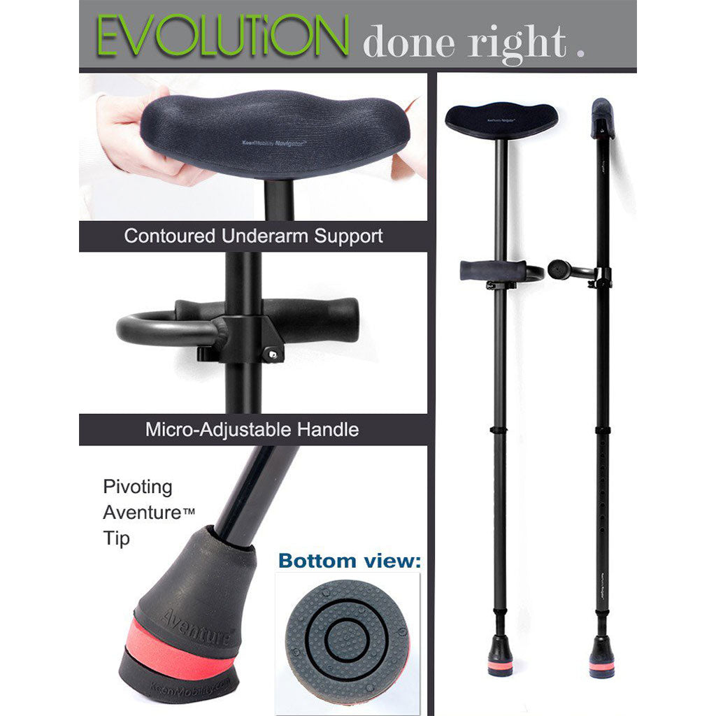 Evolution done right: The Keen Aventure Pivoting Tip for Keen Navigator Shock-Absorbing Crutches