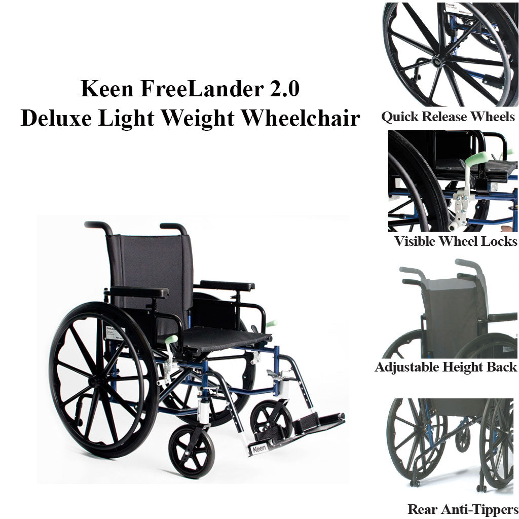 Keen FreeLander 2.0 Deluxe Light Weight Wheelchair Features