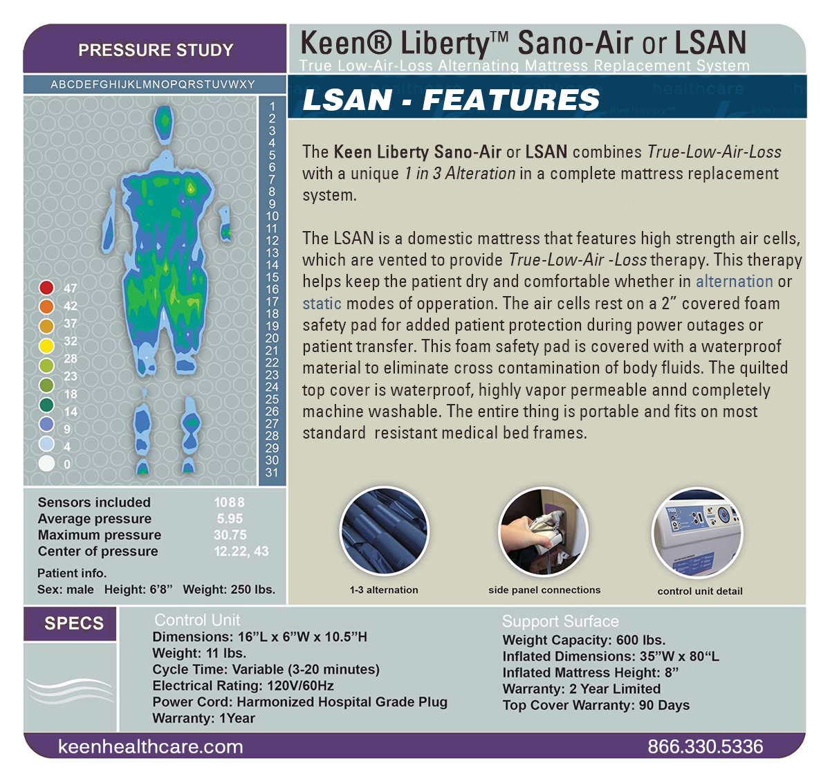 Keen® Liberty™ SanoAir Bariatric Alternating Air Mattress