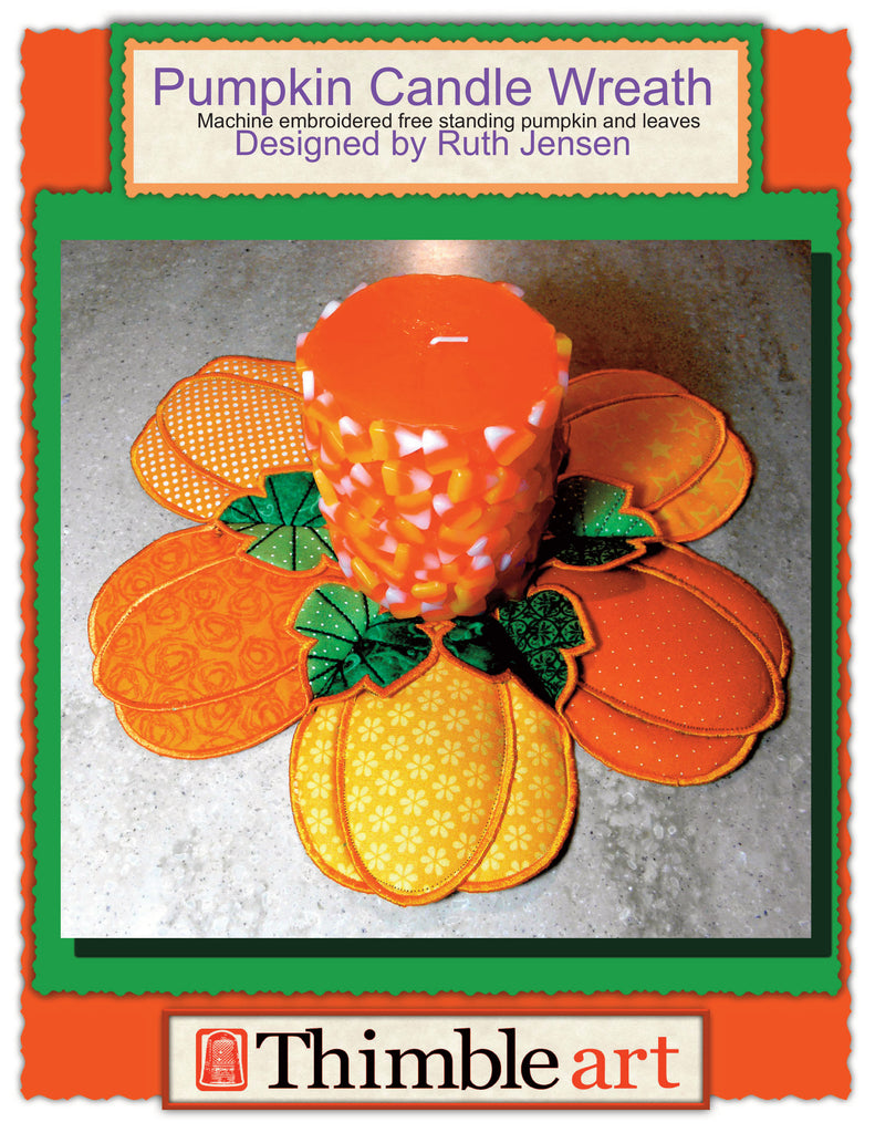 Pumpkin Candle Centerpiece Machine Embroidery