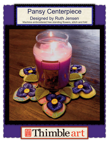 Pansy Candle Centerpiece Machine Embroidery