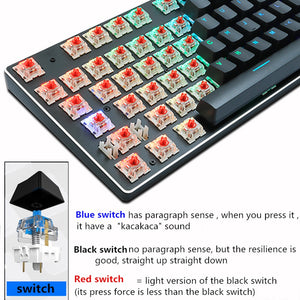 Gaming Mechanical Keyboard Blue Red Switch USB RGB/Mix Backlit Wired Keyboard 87/104 Anti-ghosting For Game Laptop PC Russian US