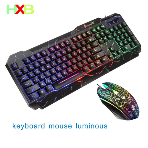 Keyboard And Mouse Gaming Mouse Keyboard Combo KIT USB Wired Luminous Magic Waterproof Multi-Media Keyboard Mouse For PC Gamer