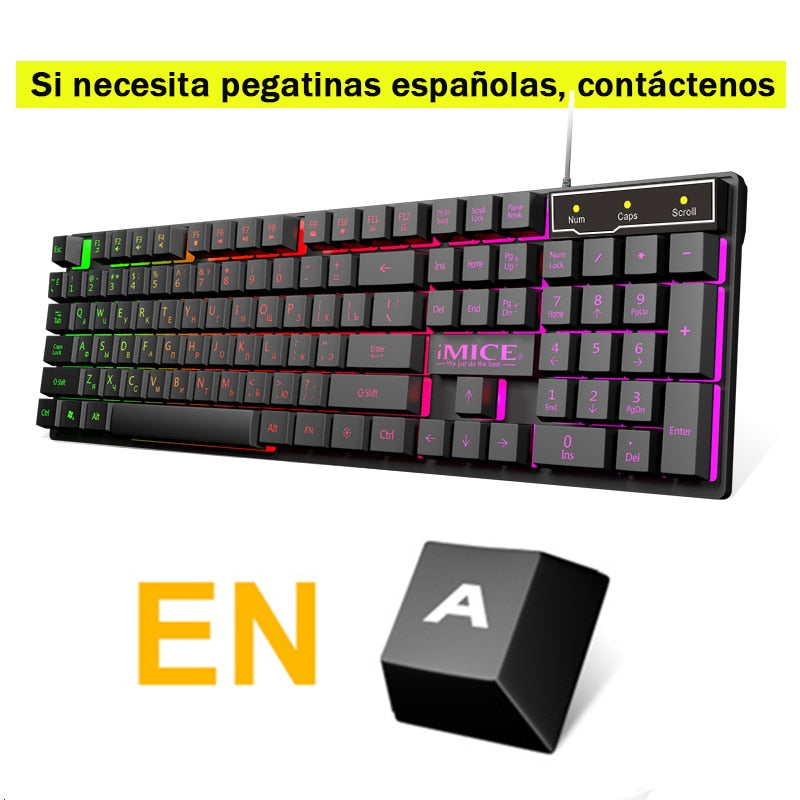 iMice Gaming Keyboard Imitation Mechanical Keyboard Backlight Spainsh Russian Gamer Keyboard Wired USB Game keyboards Computer