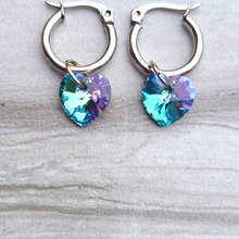 "Load image into Gallery viewer, Lexi ""Violet Sky Heart"" Earrings"