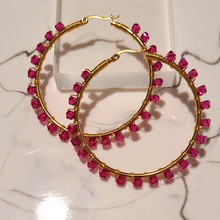 "Load image into Gallery viewer, Jodi ""Fuchsia"" Hoops"