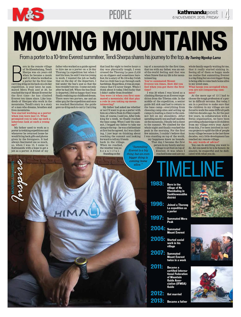 Tendi Sherpa Kathmandu Post Moving Mountains Nepal HIMALI
