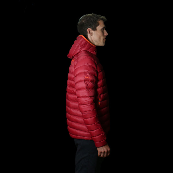 The Altocumulus Down™ Jacket Mens - Hooded - Monk Red