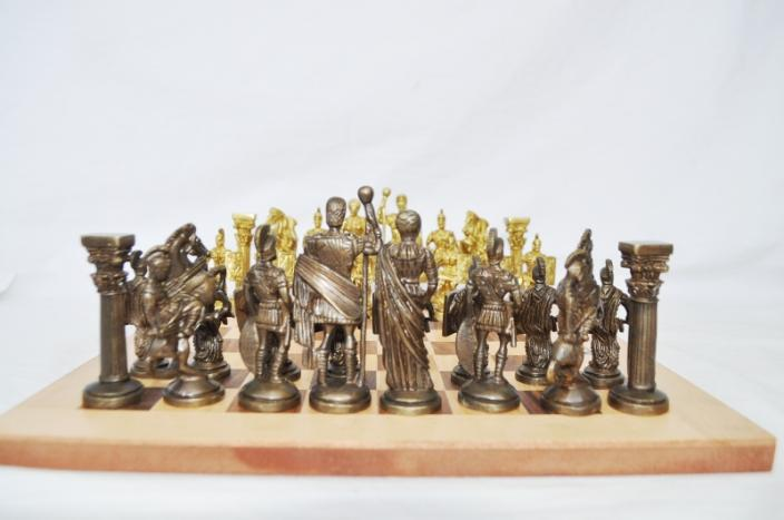 Brass Chess Set - Unique Handmade Royal International Brass Chess with Wooden Book Style Box and Storage Delux Chess Set of India