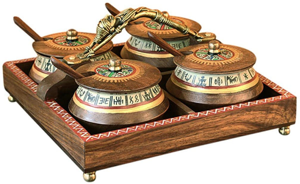 Wooden Jar Set Tray & Spoon in Shessham Wood -Mukhwas Container Box Condiment Set with Lids and Spoons Jars Dhokra Art