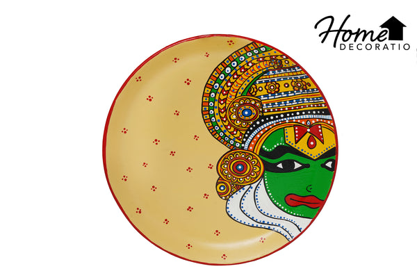"HomeDecoRatio Colorful Hand Painting On Terracotta Plate Wall Art for Living Room Bedroom 10.5"" Diameter"
