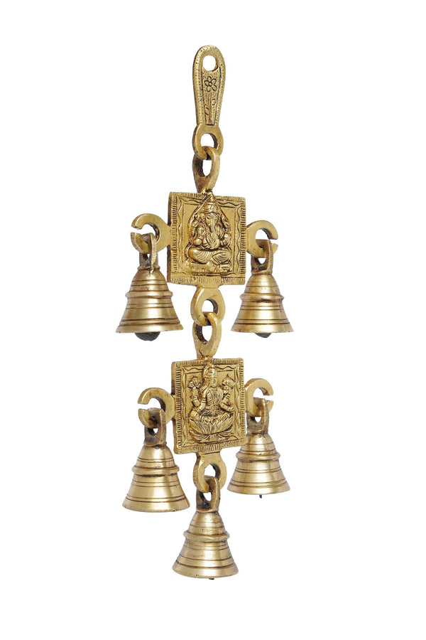 Five Bells Brass Hanging Hindu God Ganesha and Goddess Laxmi