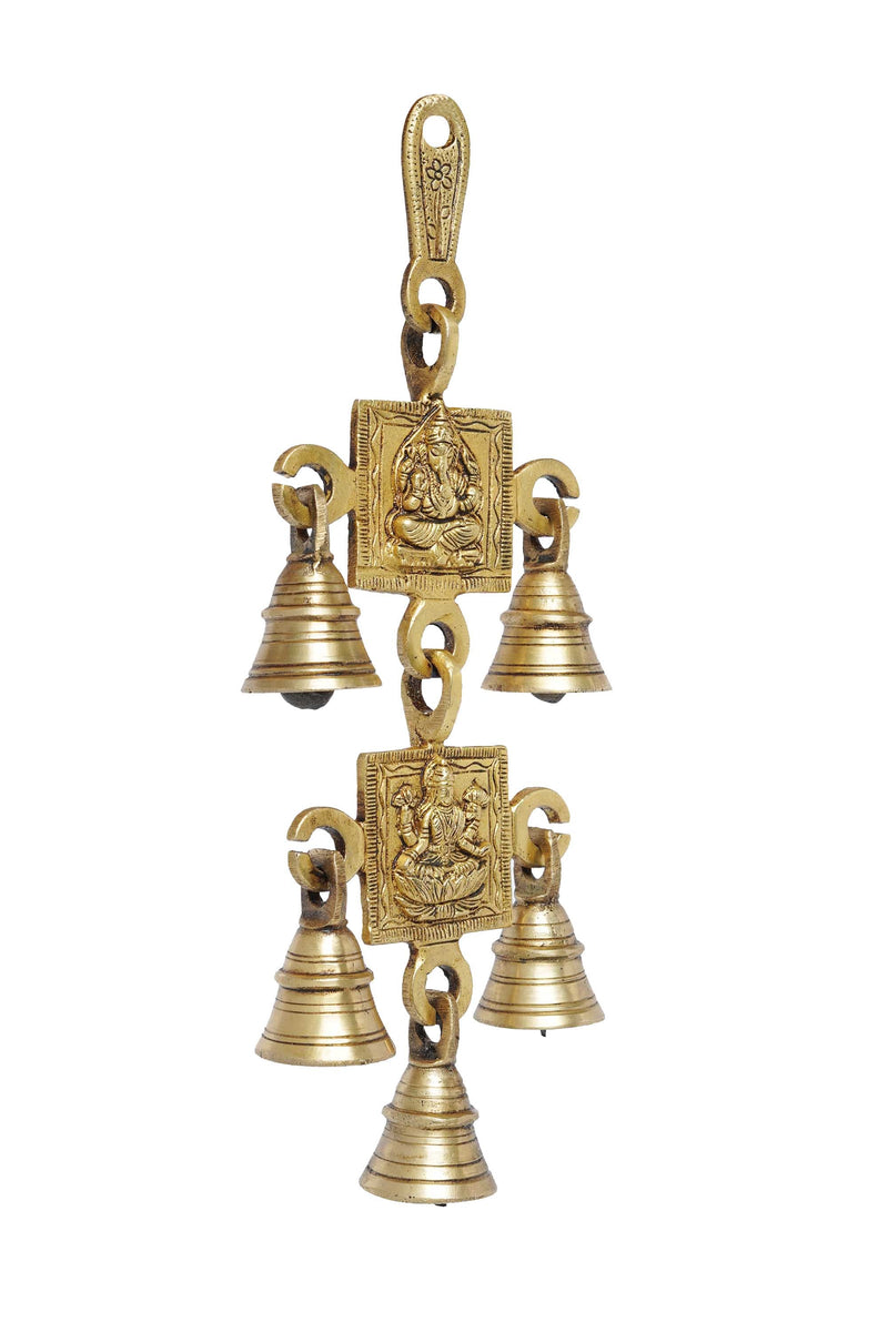 Five Bells Brass Hanging Hindu God Ganesha and Goddess Laxmi Ji Statue Engraved Hangings Temple decoration Decorative Bell (Gold, Brass)  10""