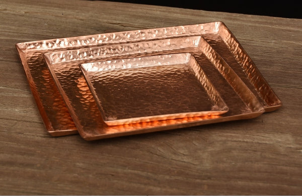 Hand hammered pure copper tray