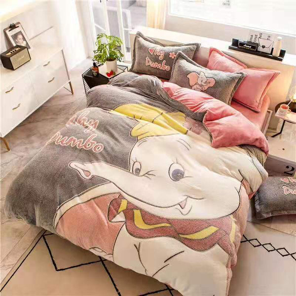 Fashion snowflake cashmere bedding set 4pcs fitted sheet duvet cover set flannel fleece 3D embossed winter AB side bed linen set