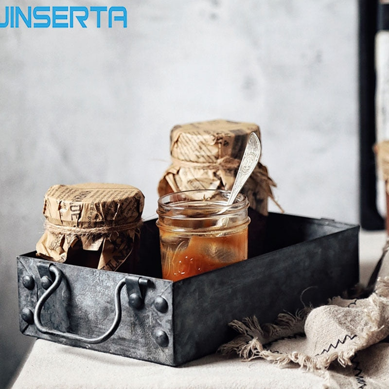 JINSERTA Rectangular Antique Iron Serving Trays Retro Metal Storage Sundries Tray Breakfast Bread Cake Snack Plate Square Box