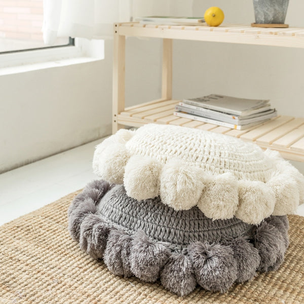 Round Knitted Pillow
