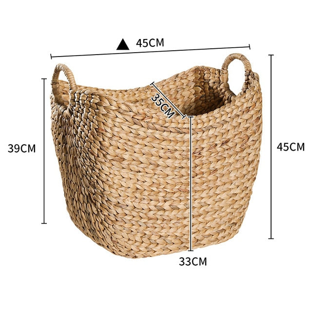 Hand-woven natural grass storage basket