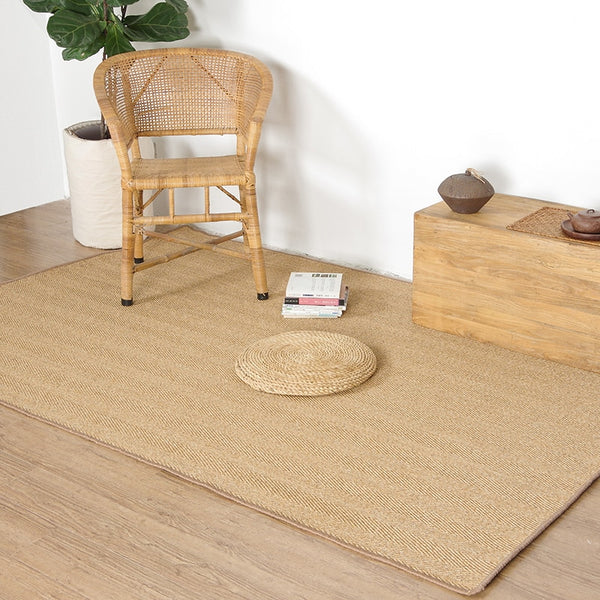 Handmade Jute Carpet  with Non-slip  Foot Mat