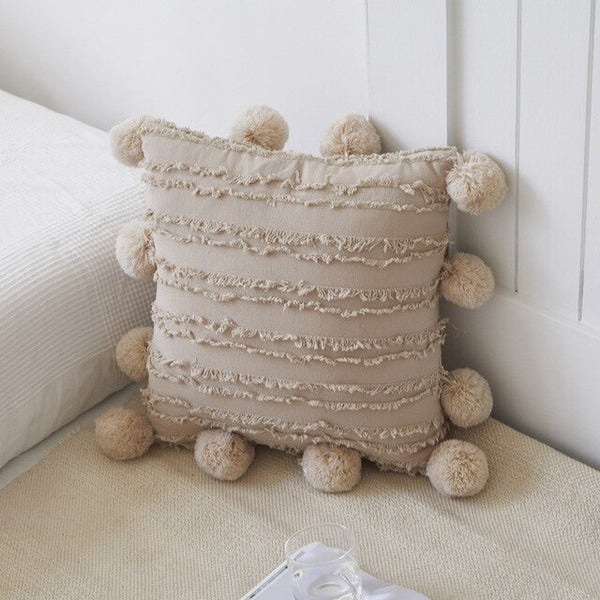 Cotton & Linen Cushion Cover with Pompom