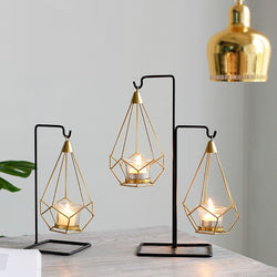 Gold Geometric Candle Metal