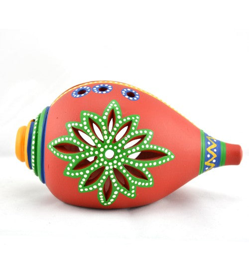 Handmade Terracotta And Handpainted T-light |Shankh Shaped Terracotta Handpainted Tea Light Holder