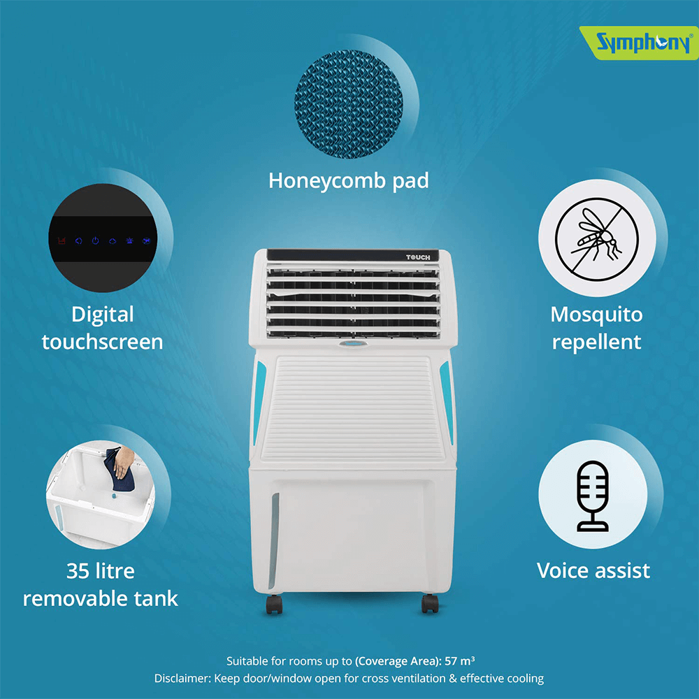 Symphony Touch 35 Personal Air Cooler 35-litres with Remote, Digital Touchscreen, Voice Assist, Multistage Air Purification, Mosquito Repellent, Removable Tank