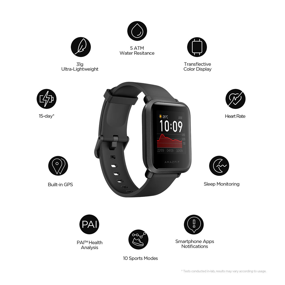 Amazfit Bip S Smart Watch with Built -in GPS, Long Battery Life, Always-on Display, 5ATM Water Resistance (Carbon Black)