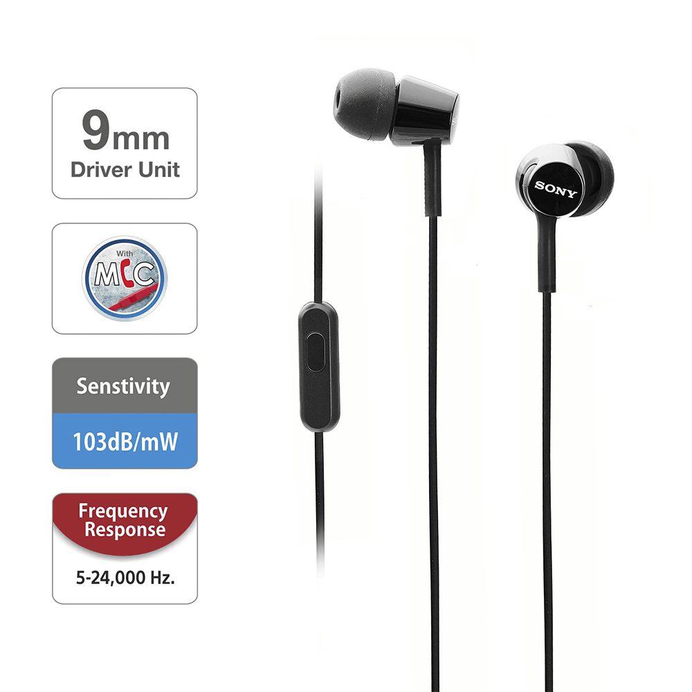 Sony MDR-EX155AP Wired in-Ear Headphones with Tangle Free Cable, 3.5mm Jack, Headset with Mic for Phone Calls