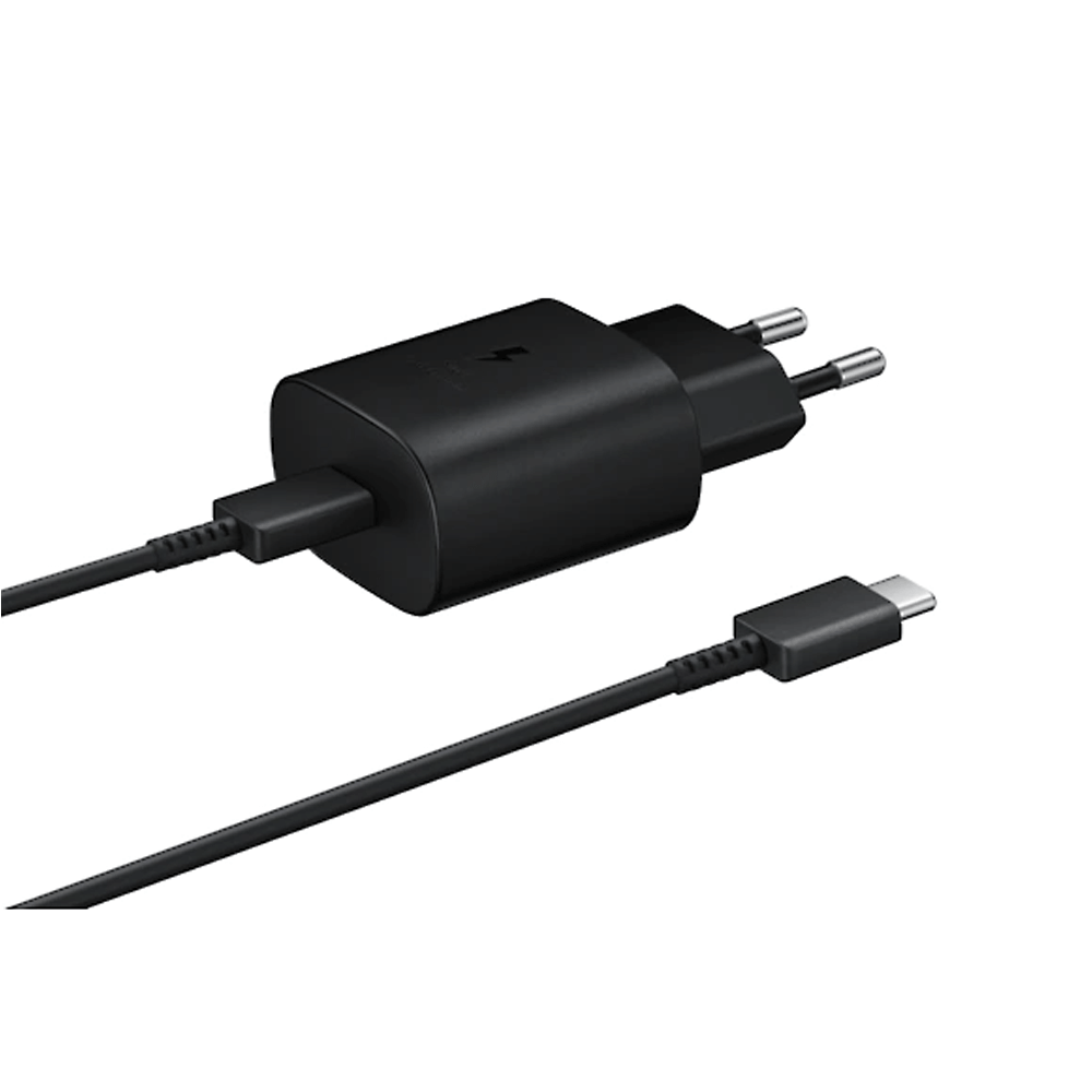 Samsung EP-TA800XBNGIN 25W USB Type-C (Fast Charge 2.0) 3 A Mobile Charger with Detachable Cable  (Black)