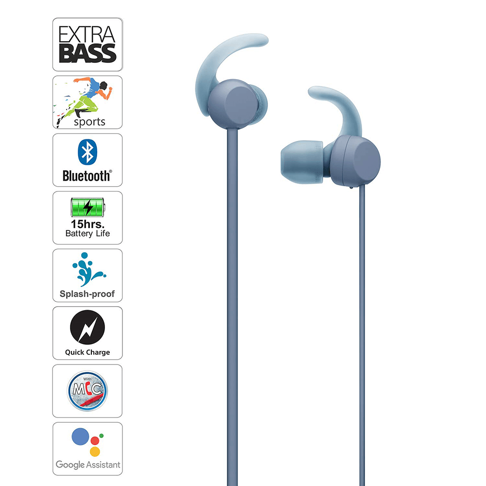 Sony WI-SP510 Wireless Sports Extra Bass in-Ear Headphones with 15 hrs Battery Life, Quick Charge, Magnetic Earbuds, Bluetooth Ver 5.0, Headset with Mic for Phone Calls