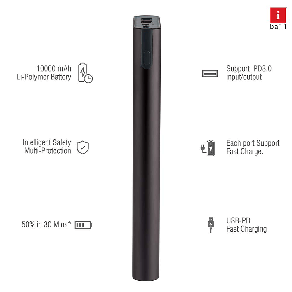 iBall Portable Power Bank, iB-10000M QCPD, Dual USB Output