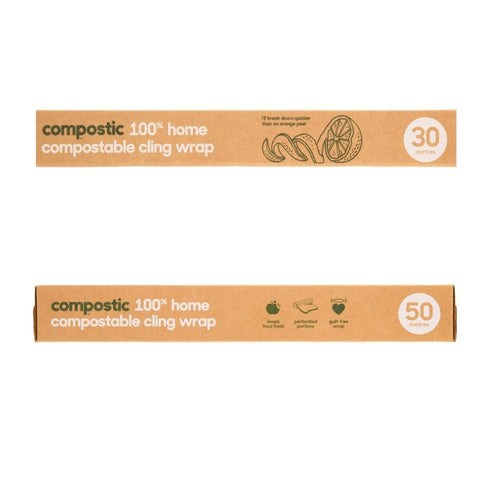 100% home compostable cling wrap that is free of plastic.