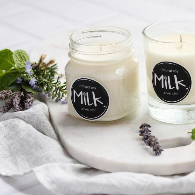 scented candles in lavender | ecofriend