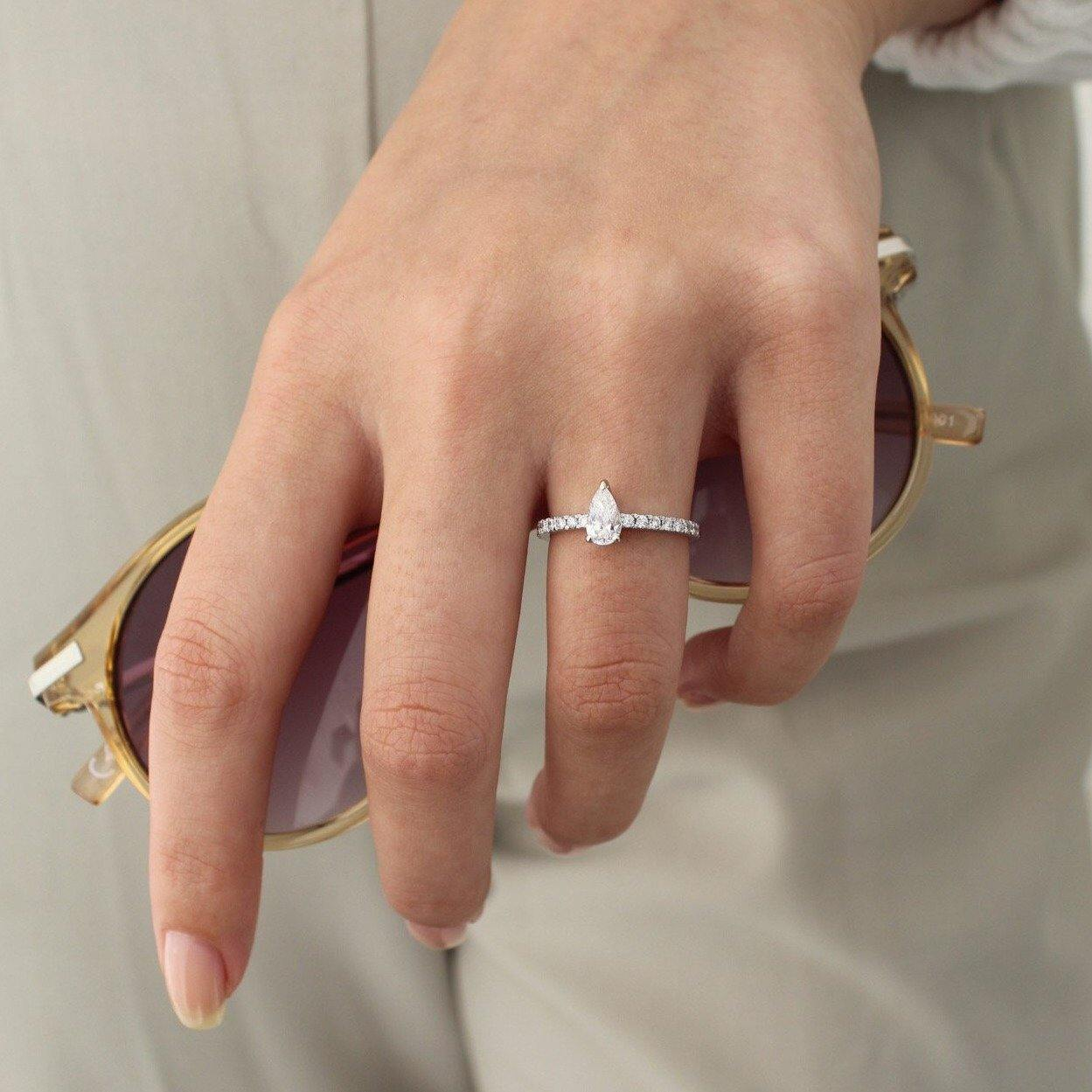 Adi • 14K Gold Pear Diamond Ring