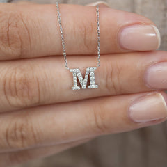 14K Gold Maria Initial Diamond Necklace
