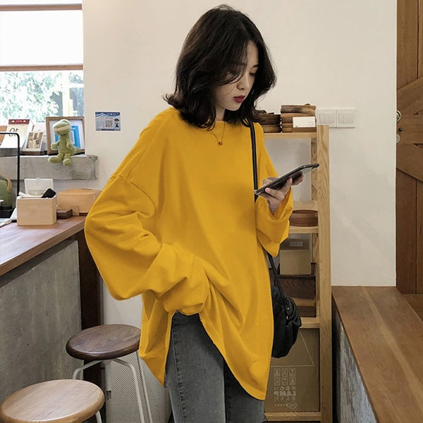 Long Sleeve Simple Oversized T-shirt