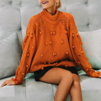 Tricot batwing sleeve knitted sweater