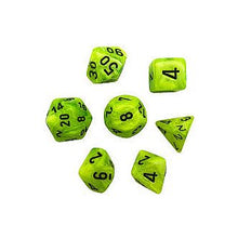 Load image into Gallery viewer, Chessex Polyhedral Dice: Vortex Bright Green/Black