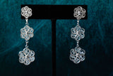 Triple Tier Floral Dangle Earrings