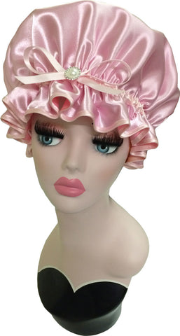 Blush Satin Shower Cap