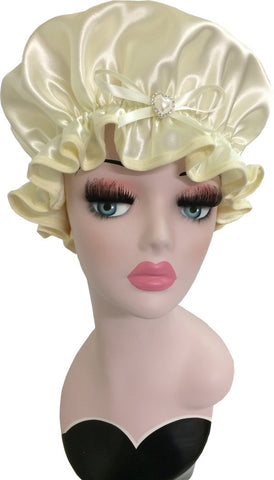 Bridal Cream Satin Shower Cap