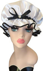 White and Black Satin Shower Cap with Sparkling Diamante