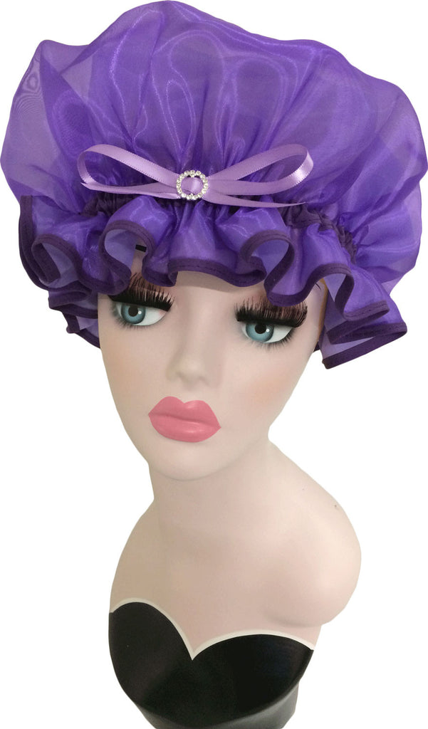 Purple Iris Organza Shower Cap with Ribbon and Diamante