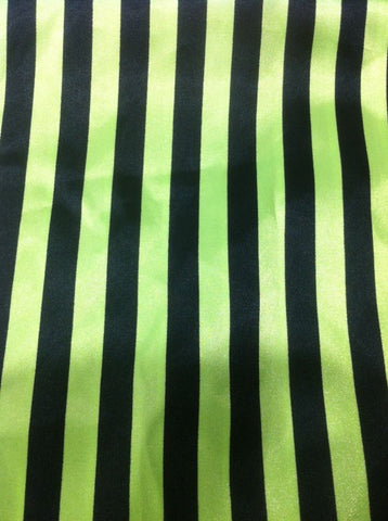 Lime & Black Striped Satin Fabric